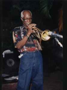 Sonny Bradshaw with his signature trumpet.
