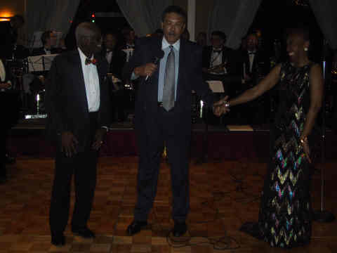 Sonny and Myrna being introduced by Donnie Dawson, Director of Jamaica Tourist Board for the United States.